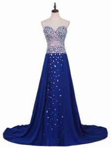 Royal Blue Sweetheart Zipper Beading Prom Dresses Brush Train Sleeveless