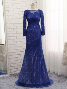 On Sale Blue Long Sleeves Brush Train Lace Evening Dress