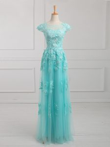 Trendy Aqua Blue Prom Dresses Prom and Military Ball and Sweet 16 with Beading and Lace and Appliques Scoop Short Sleeves Lace Up