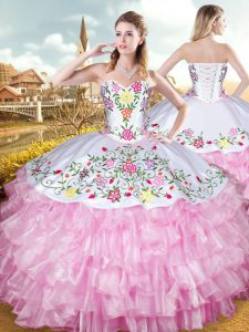 Exquisite Rose Pink Sweet 16 Dresses Military Ball and Sweet 16 and Quinceanera with Embroidery and Ruffled Layers Sweetheart Sleeveless Lace Up
