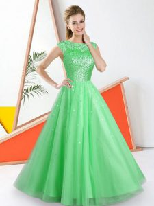 Fantastic Sleeveless Floor Length Beading and Lace Backless Damas Dress with Green