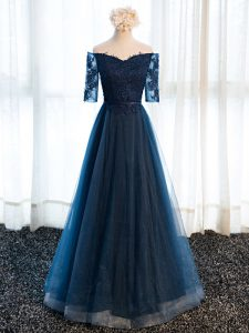 Navy Blue A-line V-neck Half Sleeves Tulle Floor Length Lace Up Beading and Lace and Appliques Prom Party Dress