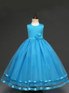 Latest Scoop Sleeveless Tulle Pageant Dress Hand Made Flower Zipper