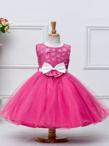 Hot Pink Little Girls Pageant Dress Wedding Party with Lace and Bowknot Scoop Sleeveless Zipper