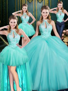 Sleeveless Beading and Pick Ups Lace Up Quinceanera Dress