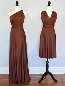 Colorful Sleeveless Chiffon Floor Length Lace Up Damas Dress in Brown with Ruching