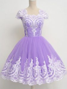 Amazing A-line Quinceanera Court of Honor Dress Lavender Square Tulle Sleeveless Knee Length Zipper
