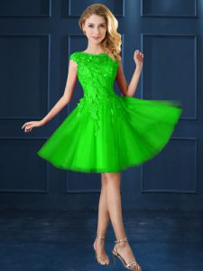 A-line Bateau Cap Sleeves Tulle Knee Length Lace Up Lace and Belt Damas Dress