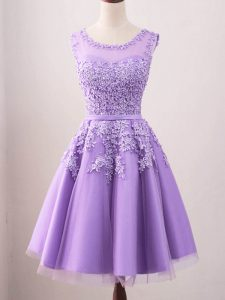 Scoop Sleeveless Quinceanera Court Dresses Knee Length Lace Lavender Tulle