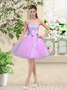 Sleeveless Organza Knee Length Lace Up Vestidos de Damas in Lilac with Lace and Belt