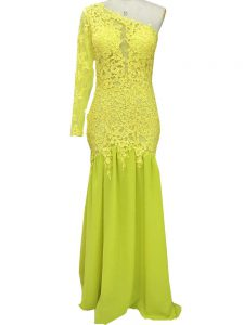 Yellow Side Zipper Prom Dress Lace and Appliques Long Sleeves Brush Train