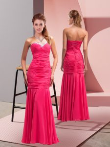 Exceptional Floor Length Mermaid Sleeveless Hot Pink Prom Evening Gown Lace Up