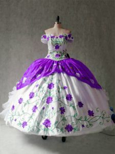 Exceptional White And Purple Cap Sleeves Floor Length Embroidery and Ruffles Lace Up Quinceanera Dresses