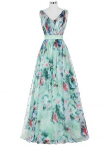 Floor Length Multi-color Prom Dresses Printed Sleeveless Ruching and Belt