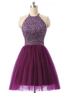 Mini Length Dark Purple Cocktail Dress Tulle Sleeveless Beading and Sequins