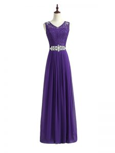 Sleeveless Chiffon Floor Length Zipper Quinceanera Court Dresses in Lavender with Beading and Lace