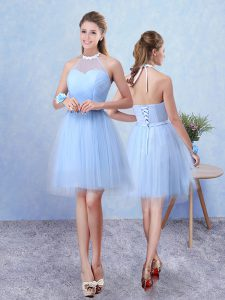 Amazing Sleeveless Tulle Knee Length Lace Up Quinceanera Dama Dress in Blue with Ruching