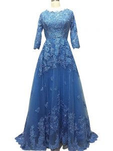 Enchanting Blue Dress for Prom Prom and Party with Lace and Appliques Scalloped 3 4 Length Sleeve Brush Train Zipper