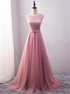 Dynamic Pink Tulle Lace Up Scoop Sleeveless Evening Wear Brush Train Beading and Belt