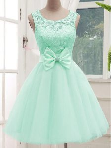 Knee Length A-line Sleeveless Apple Green Damas Dress Lace Up