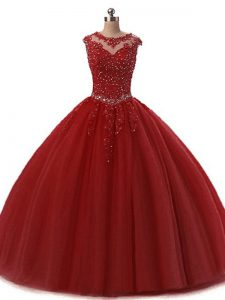 New Arrival Ball Gowns Quinceanera Dress Burgundy Scoop Tulle Sleeveless Floor Length Lace Up