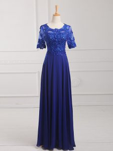 Artistic Lace and Appliques Evening Dress Royal Blue Zipper Half Sleeves Floor Length
