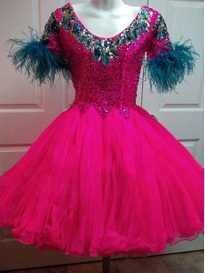 Luxurious Fuchsia Zipper Scoop Beading and Sequins Cocktail Dresses Organza Short Sleeves