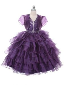 Customized Ruffled Layers Little Girl Pageant Dress Purple Lace Up Sleeveless Floor Length