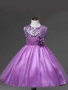 Lilac Sleeveless Tulle Zipper Kids Formal Wear for Wedding Party