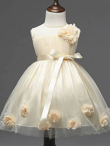 Great Sleeveless Knee Length Hand Made Flower Zipper Little Girls Pageant Dress Wholesale with Champagne