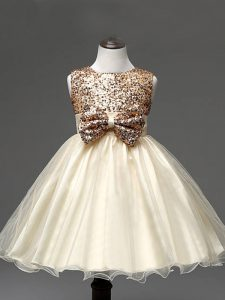 Sleeveless Organza Knee Length Zipper Little Girl Pageant Gowns in Champagne with Sequins and Bowknot