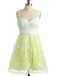 Knee Length Yellow Dama Dress for Quinceanera Lace Sleeveless Lace