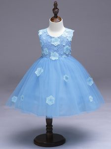 Most Popular Light Blue Sleeveless Tulle Zipper Pageant Dress Toddler for Wedding Party