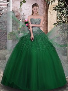 Shining Dark Green Ball Gowns Beading Quince Ball Gowns Lace Up Tulle Sleeveless Floor Length