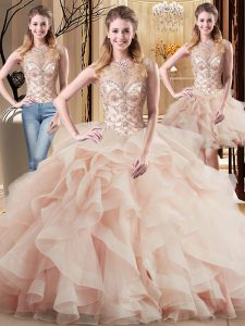 Fitting Beading and Ruffles Vestidos de Quinceanera Peach Lace Up Sleeveless Brush Train
