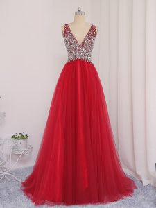 New Style Tulle Sleeveless Dress for Prom Brush Train and Beading