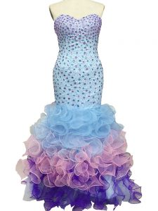 Unique Sleeveless Organza Floor Length Lace Up Pageant Dress for Womens in Multi-color with Beading and Ruffles