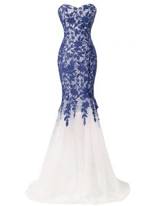 Blue And White Zipper Evening Gowns Beading and Lace and Appliques Sleeveless Brush Train