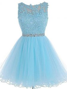 Custom Made Baby Blue Sleeveless Beading and Lace and Appliques Mini Length Prom Party Dress