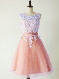 Hot Selling Knee Length Peach Dama Dress for Quinceanera Tulle Sleeveless Lace