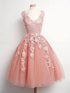 Peach V-neck Neckline Lace Court Dresses for Sweet 16 Sleeveless Lace Up