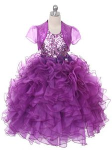 Custom Designed Organza Sleeveless Floor Length Little Girls Pageant Gowns and Ruffles and Sequins and Bowknot
