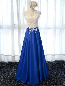Royal Blue Prom Dresses Prom and Military Ball and Sweet 16 with Lace and Appliques Scoop Sleeveless Zipper
