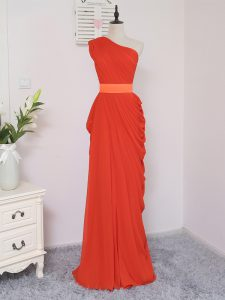 Coral Red Empire Pick Ups Quinceanera Court Dresses Zipper Chiffon Sleeveless Floor Length