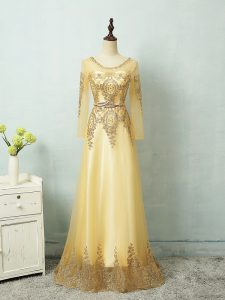 Clearance Floor Length Zipper Evening Gowns Yellow for Prom and Military Ball and Sweet 16 with Beading and Appliques and Belt