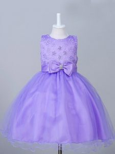 High Quality Appliques and Bowknot Little Girls Pageant Dress Eggplant Purple Zipper Sleeveless Knee Length
