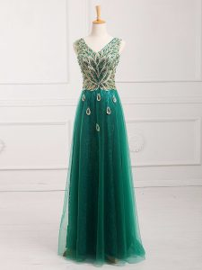 Tulle Sleeveless Floor Length Homecoming Dress and Lace