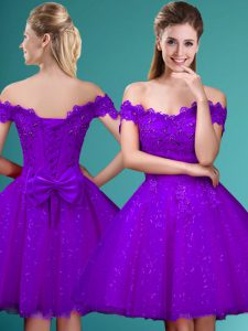 Charming Eggplant Purple A-line Lace and Belt Quinceanera Court of Honor Dress Lace Up Tulle Cap Sleeves Knee Length