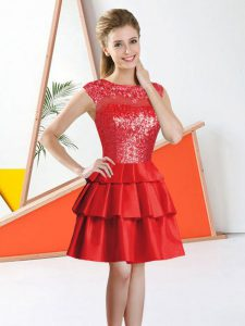 Red Bateau Neckline Beading and Lace Dama Dress Sleeveless Backless