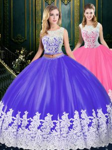 Fabulous Ball Gowns Quinceanera Gowns Blue And White Scoop Tulle Sleeveless Floor Length Clasp Handle